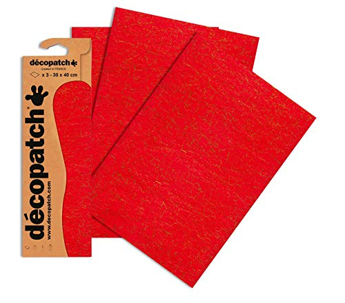 Decopatch Papier No. 336 (395 x 298 mm) 3er Pack rot craquelé