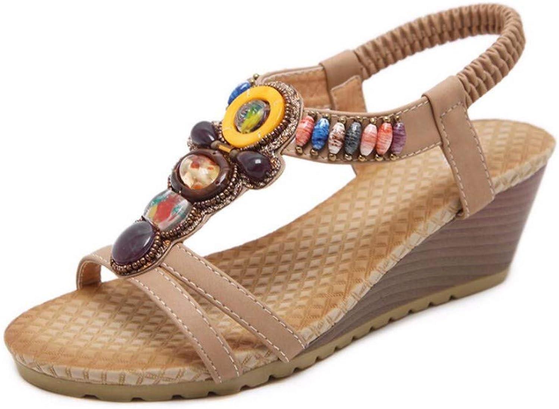 ZPSPZ sandals womens Ladies'open Toe T-Belt Sandals String Pearl Bohemian Slope Heel Large Beach shoes