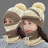 Bonnet d'hiver en laine pour femmes et épaississement de velours d'équitation coupe-vent cache-oreilles froids bonnet d'hiver chaud chapeau tricoté femelle violet soupape de respiration trois pièces-B