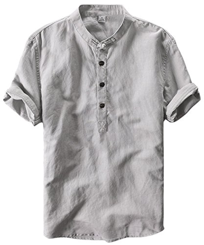 utcoco Men's Retro Chinese Style Short Sleeve Linen Henley Shirts (Medium, Grey)