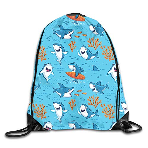 Drempad Tunnelzug Rucksäcke, Shark Skateboard Art Blue Drawstring Bag Stylish Cute Print Lightweight Sackpack Sport Gym Bundle Backpack Theme Novelty Outdoor Classic