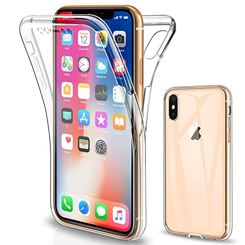 Gnews Coque Compatible avec iPhone X Housse, Coque Compatible avec iPhone XS, Transparent Silicone TPU Case Intégral 360 Degres Full Body Protection Compatible avec iPhone X (2017)/ iPhone XS (2018)