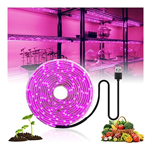 WPF ZJH LED Grow Light Full Spectrum 5V USB Grow Light Strip 2835 LED Phyto Lamps for Plants Greenhouse Hydroponic Growing 0.5M 1M 2M 3M (Color : IP65 Waterproof, Size : 2M)