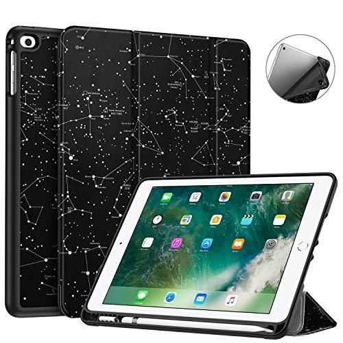 Fintie SlimShell Hülle für iPad 9.7 2018 - Superleicht Soft TPU Rückseite Abdeckung Schutzhülle mit eingebautem Apple Pencil Halter, Auto Schlaf/Wach für iPad 6. Generation, Sternbild