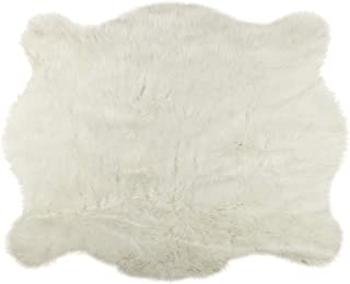 Luxe Faux Fur Luxury Soft Premium Quality Fade Resistant Shed Free 100% Animal-Free Faux Cowhide Area Rug, 5-1/4 ft x 7-1/2 ft, Polar Bear