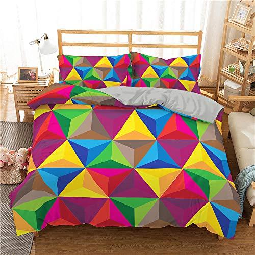 HGFHGD 7-farbiges geometrisches Muster 3D-Druck Bettwäsche Set Kinder-Tagesdecke Bettwäscheset King Size Trompete