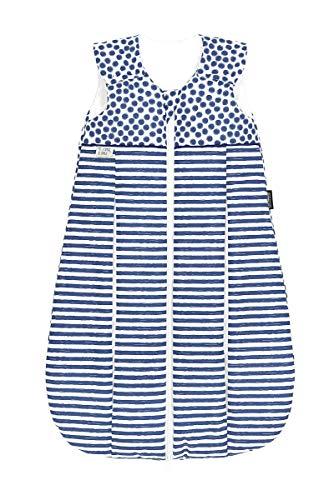 Set Odenwälder Prima Klima Thinsulate Schlafsack mit Stoffwindel von Kinderhaus Blaubär | Winter Baby-Schlafsack atmungsaktiv, Größe:90, Design:stripes light denim