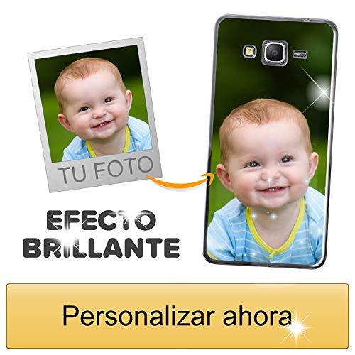 Funda móvil Personalizada con Efecto Brillante para Samsung Galaxy Grand Prime con Tu Foto, Imagen o Frase - Funda Blanda en TPU Gel Transparente - Impresión de máxima Calidad