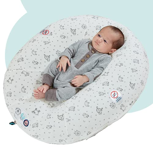 hiccapop Peanut Inflatable Portable Baby Lounger for Newborn Baby | Compact for Travel Baby Lounger Pillow fits in Suitcase | Newborn Lounger Pillow | Baby Pillow Lounger | Newborn Baby Lounger