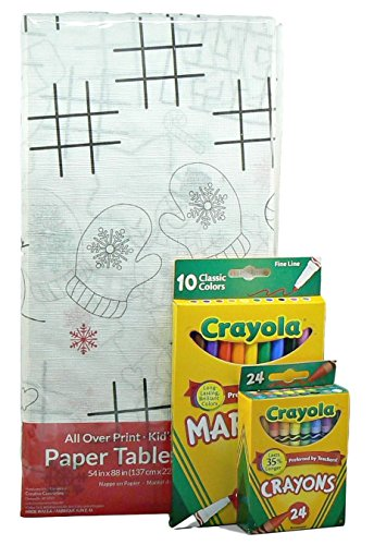 Kids Activity and Coloring Christmas Tablecloth with Crayons and Markers 3 pc Set