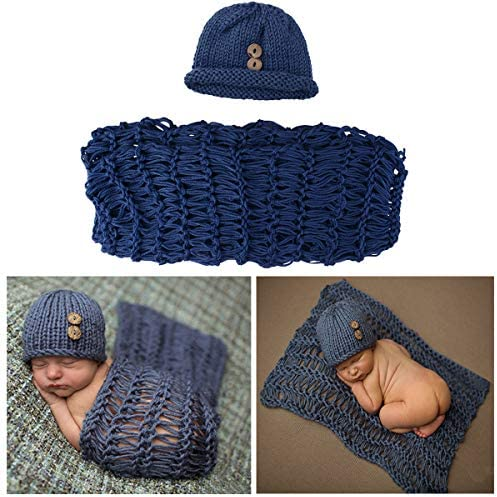 ISOCUTE Newborn Photography Wraps Blankets and Hat Beanie Baby Boy Photo Swaddle Outfits Props product image