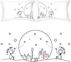 BoldLoft Miss Us Together Couples Pillowcases-Miss You Gifts Long Distance Relationships Gifts for Girlfriend Boyfriend,Long Distance Gifts for Couples,LDR Gifts for Him Her Christmas Valentine's Day