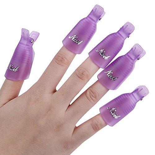 10 Stück Kunststoff-Nagel-Kunst tränken weg Cap Clip UV Gel Polish Remover Wrap-Werkzeug (Lila)