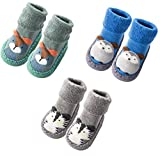 Infant Baby Boy Girls Toddlers Moccasins Non-Skid Indoor Slipper Shoes Socks Booties with Grips (12-18 Months, Grey Blue Green)