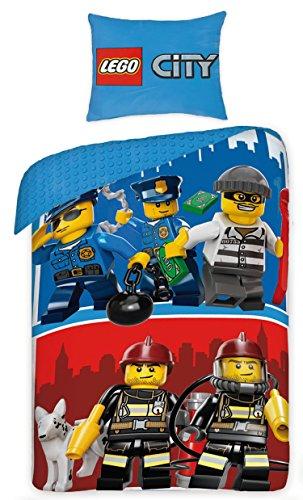 LEGO City Polizia Pompieri Parure di letto 1persona reversibile 100% cotone Copripiumino 140x 200+ federa 70x 90Idea Déco Edition limitata