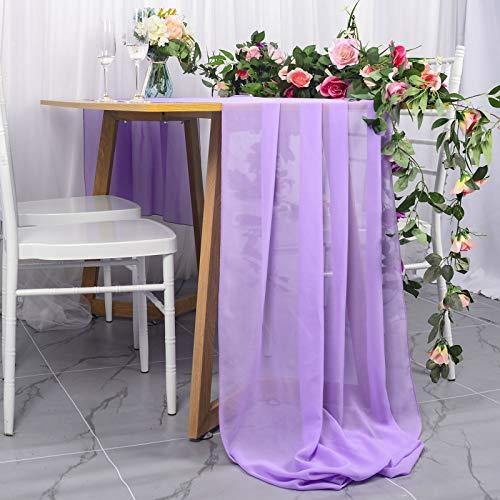 DUOBAO TableRunner Chiffion Table Runner 29''x120'' Lavender SheerTableRunnersforWeddings BeadedTableRunner Light Purple Draping Voil Chiffion Table Runners (1, Lavender)