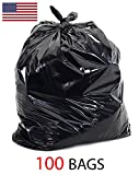 39 Gallon 1.5 Mil Strong Trash Bags, Lawn Leaf Bags, Heavy Duty Trash Bag, Contractor Garbage Bag (Black, 100)