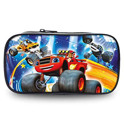 Blaze and The Monster Machines Creative Pencil Case Portable Cosmetic Bag Printing Pretty Pencil Bag Suitable for School Student Boys Girls Basic Storage Bag Kids