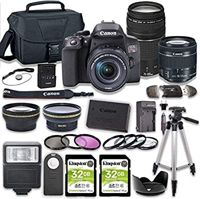 Canon EOS Rebel T8i DSLR Camera Bundle with 18-55mm STM & 75-300mm III Lens + 2pc Kingston 32GB Memory Cards + Accessory Kit by Canon Intl.