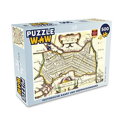 Puzzel 500 stukjes Historische stadskaarten - Historische kaart van heerhugowaard - PuzzleWow heeft +100000 puzzels - legpuzzel voor volwassenen - Jigsaw puzzel 48x34 cm