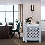 SONNI Cubierta de Radiador Blanco Moderno,Madera,Listones de rombo,Cubre de Calefacción Pequeño 78x19x81.5cm