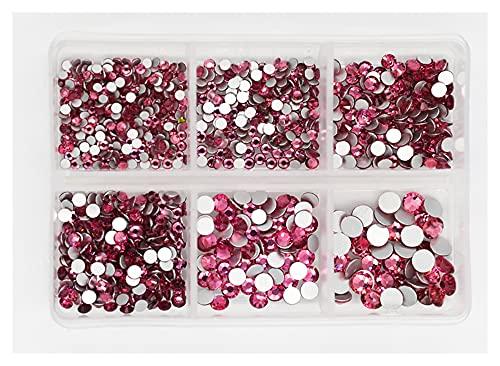QQINGHAN Strassstein-Set mit flacher Rückseite, 3D-Strasssteine, verschiedene Größen, für Kleidung, Nägel, 1200 Stück (Farbe: Rose)