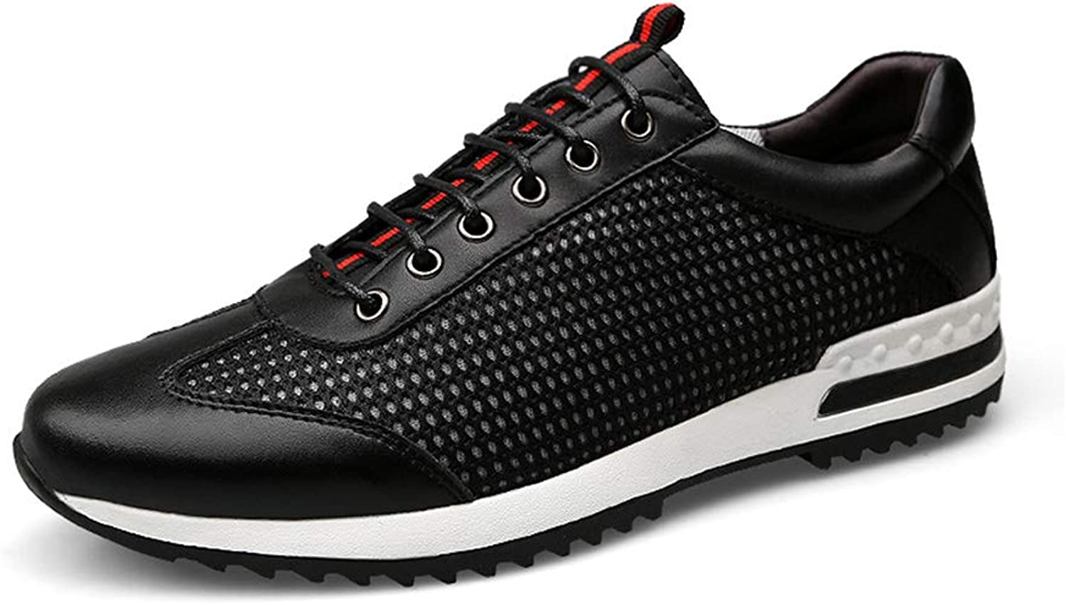 Men's Casual shoes Non-slip Front tie Running shoes Cozy Breathable Mesh shoes Multifunction Wear resistant Sports shoes,Black,37