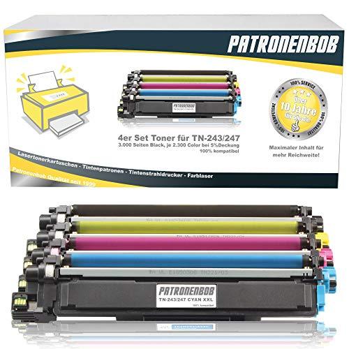 4er Pack Patronenbobr® XL Toner inkl. Chip kompatibel zu Brother TN-243 TN-247 TN243 TN247 für HL-L3210CW HL-L3230CDW HL-L3270CDW DCP-L3510CDW DCP-L3550CDW MFC-L3710CW MFC-L3730CDN MFC-L3750CDW