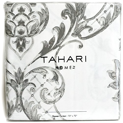 Tahari Home Fabric Shower Curtain Chinoisserie Damask Paisley Scroll Medallion Grey on White 72 x 72'
