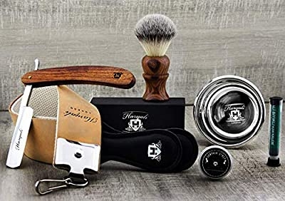 Vintage Style Men's Shaving Set With Synthetic Hair Shaving Brush,Cut Throat Razor /Barber Style Razor, Double XL Pure Leather Strop & Sharping Paste ,Stainless Steel Bowl +FREE Aluminum STICK from Haryali London
