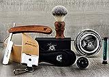 Kit de rasage vintage de 5 pi pour hommes poiles Synthétique Cheveux Brosse Strop en cuir XXL pour l'affûtage rasoir, bol en acier inoxydable - Crayon en aluminium gratuit Le kit de rasage parfait.