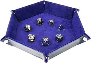 Dice Tray Metal Dice Rolling Tray for RPG DND Table Games, Dice Holder Storage Box, Double Sided Folding Rectangle PU Leather and Velvet (Oxford Blue)