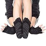Yoga Socken & Handschuhe Set Damen 2 Set, Rutschfeste Anti-Skid Grip Socken & Handschuhe, EU35-40...