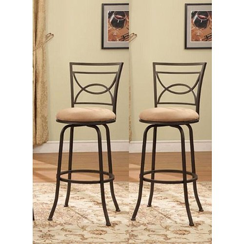 - Bronze Finish Half Circle Back Adjustable Metal Swivel Counter Height Bar Stools (Set of 2)
