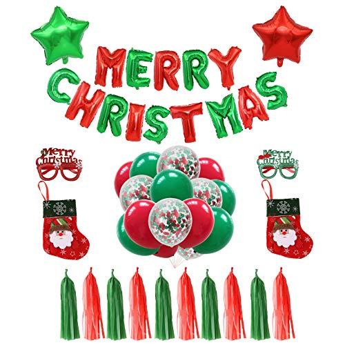 Globos de Navidad,COTEY Globos de Navidad Decoraciones De Fiesta con medias navideñas,...