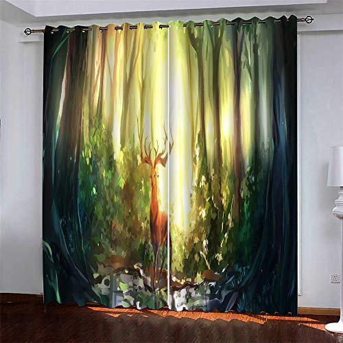 MMHJS European Style Simple Christmas Curtains Christmas 3D Elk Printing Polyester Quick-Drying Curtains Blackout Curtains For Bedroom And Living Room (2 Pieces)