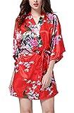 FEOYA Morgenmantel Nachthemd Dammen Satin Kurz Kimono Kostüm Rot Bademantel Sommer V Ausschnitt Nachtwäsche Negligee Frauen Blumen Nachtkleid Sleepwear M