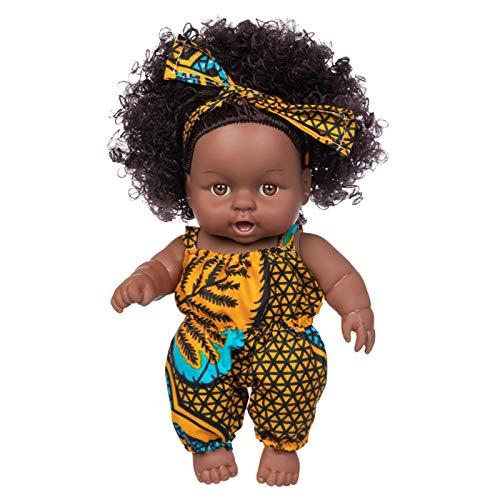 Muñeca de simulación para bebé, 20 cm, de Vinilo, Impermeable, Realista, Suave, Piel Negra, para niños, educación temprana,Lindo Cabello Rizado Regalos para niños muñeco Bebe