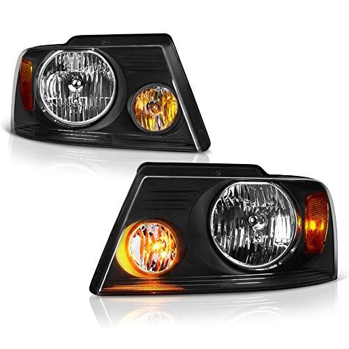 VIPMOTOZ Black Headlight Headlamp Assembly Replacement For 2004-2008 Ford F-150 & Lincoln Mark LT Pickup Truck, Driver & Passenger Side