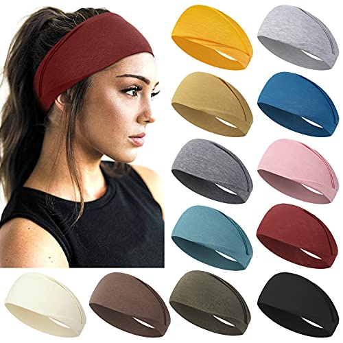 AKTVSHOW 12 Pack Headbands for Women Non-Slip Workout Elastic Hair Bands for Short Thick Hair Sports Yoga Exercise Hair Accessories