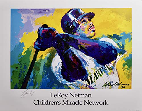 Ken Griffey Jr. Lithographic Print by Leroy Neiman hand signed by Griffey