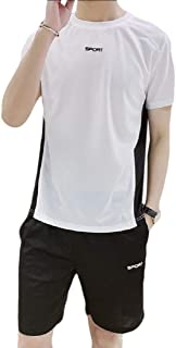 Men Shorts Set Tracksuit Outfits Short Sleeve Shirt and Shorts 2 Piece