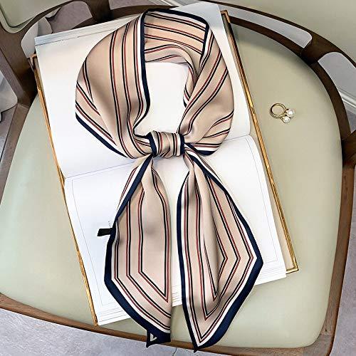 Quarter Bufanda de Seda con Estampado de Rayas de Lujo para Mujer, Bufanda pequeña Doble para Atar, Banda para el Cabello, Bufandas largas estrechas de Primavera para Mujer