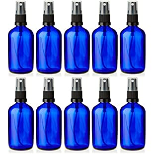 10 x 100ml Blue Glass Bottles with BLACK ATOMISER Sprayer - Mist Sprayer - For Essential Oil - Aromatherapy Use - Room Cleaning
