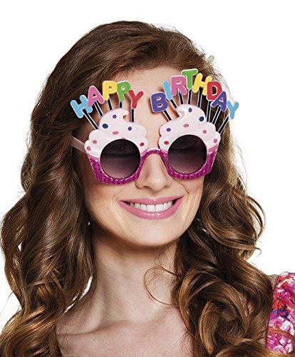 Confettery - Happy Birthday Brille Kostüm Sonnenbrille, Mehrfarbig