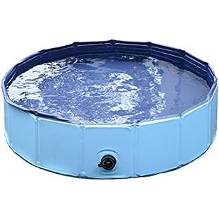 PawHut Pet Swimming Foldable Bathing Tub Padding Pool Dog Cat Puppy Washer Indoor/Outdoor (Blue, Φ80 × 20H)
