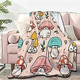 Atthadassi Cute Mushroom Head Soft Blanket All Season Throw Blanket Fleece Blankets Bed Sofa 50'x40'
