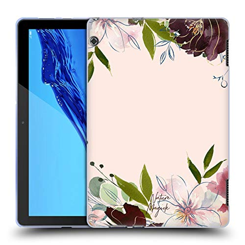 Head Case Designs Offizielle Nature Magick Buchstabe C Rose Gold Flowers Monogram 1 Soft Gel Huelle kompatibel mit Huawei MediaPad T5