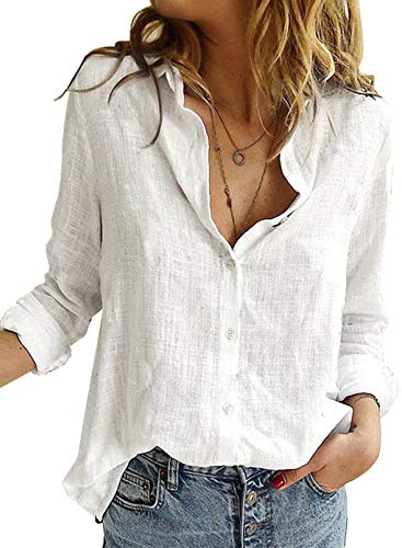 Astylish Women V Neck Solid Roll Up Sleeve Collared Shirts Blouses Summer Linen Tops for Teen Girls White Large