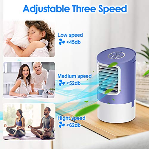 Mobile Klimaanlage Klimagerät, Luftkühler Tragbar, Leiser Tischventilator & Luftbefeuchter mit 7-Farben LED und 2/4H Timer, 3 Geschwindigkeiten, Schnelle Abkühlung Persönlicher Raum, für Zuhause, Büro